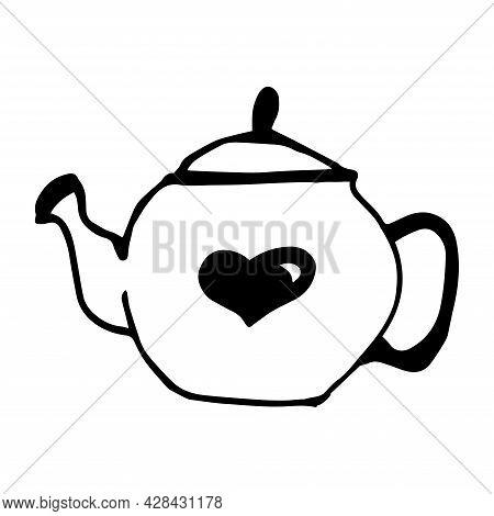 Teapot Vector Icon. Teapot For Tea Ceremonies. Container For Tea. Doodle Kettle.