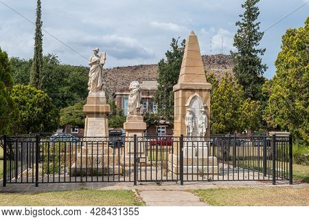 Burgersdorp, South Africa - April 22, 2021: The New And Original Afrikaans Language Monuments, And T
