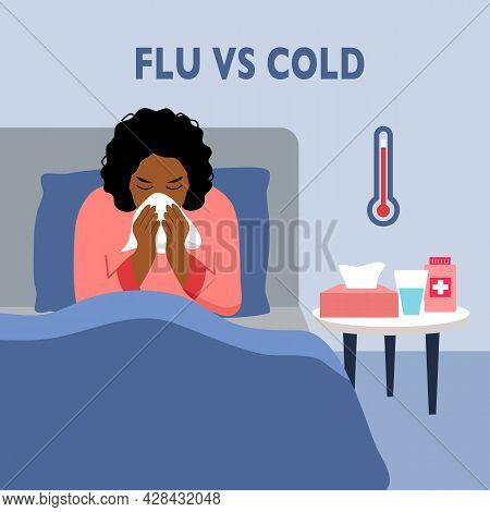 African Woman Suffering From Flu In Bed Under Blanket. Black Female Has Fever. Flu Or Cold Allergy S