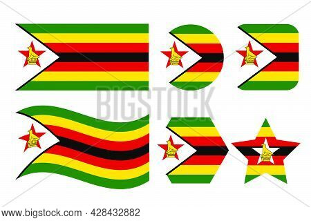 Zimbabwe Flag Simple Illustration For Independence Day Or Election. Simple Icon For Web