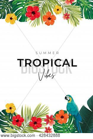 Summer Tropical Background With Exotic Palm Leaves And Hibiscus Flowers. Vector Floral Background.