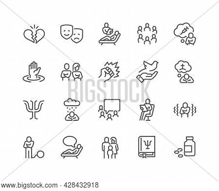 Simple Set Of Psychology Related Vector Line Icons. Contains Such Icons As Family Relationship, Grou