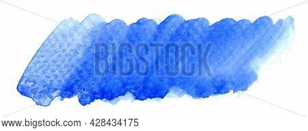 Blue Watercolor Brush Stain, Marker Scribble Water Color Paint On White, Shades Of Blue For horizon