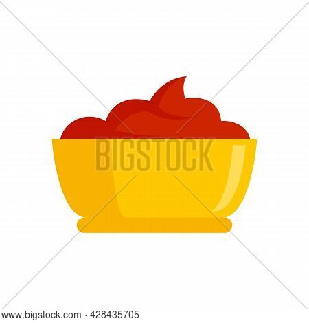 Ketchup Bowl Icon. Flat Illustration Of Ketchup Bowl Vector Icon Isolated On White Background