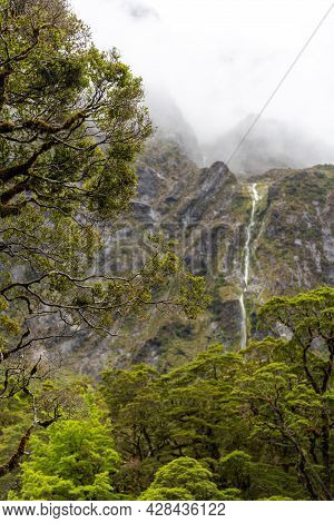Famous Chasm Gorge With Beautifully Outwashed Rock, Milford Sound, South Island Of New Zealand