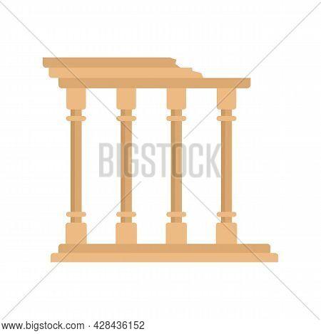 Turkish Ancient Columns Icon. Flat Illustration Of Turkish Ancient Columns Vector Icon Isolated On W