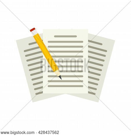 Edit Education Papers Icon. Flat Illustration Of Edit Education Papers Vector Icon Isolated On White