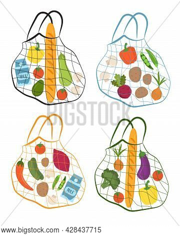 Set Of Mesh Or Net Bag With Fresh Healthy Products. Shopping Reusable Grocery Cloth String Bag. Zero