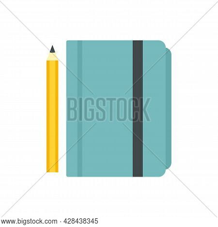 Tutor Lesson Notebook Icon. Flat Illustration Of Tutor Lesson Notebook Vector Icon Isolated On White
