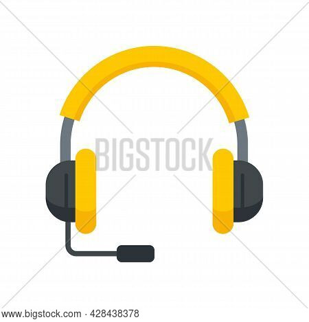 Lesson Headset Icon. Flat Illustration Of Lesson Headset Vector Icon Isolated On White Background