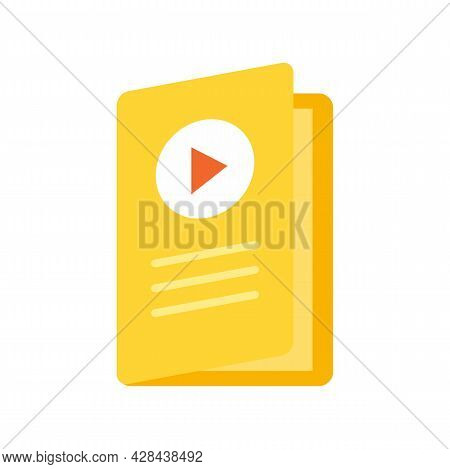 Video Lesson Folder Icon. Flat Illustration Of Video Lesson Folder Vector Icon Isolated On White Bac