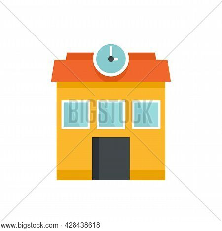 School Building Icon. Flat Illustration Of School Building Vector Icon Isolated On White Background