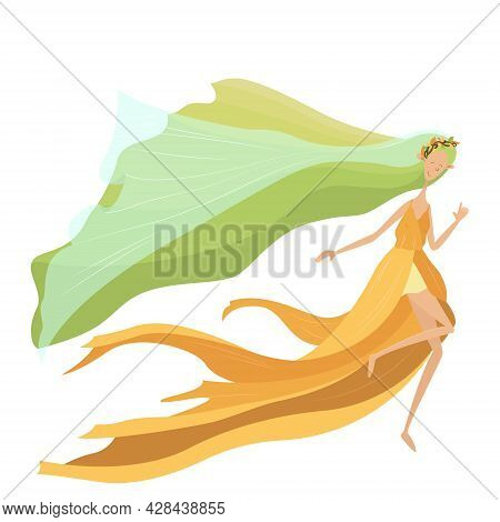 Beautiful Bright Cartoon Flat Illustration Of Forest Fairy Mavka. Fabulous Drawing For A Children's
