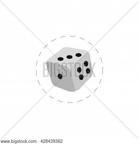 Dice Cube Clipart. Dice Cube Simple Vector Clipart. Dice Cube Isolated Clipart.