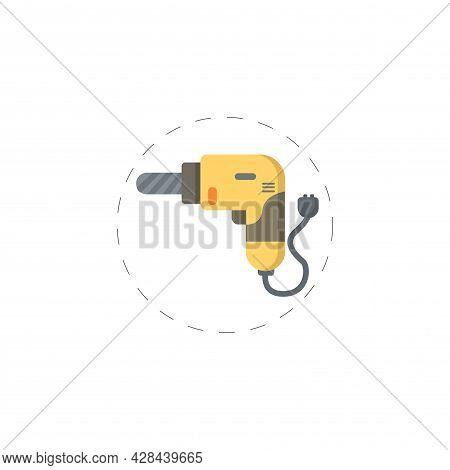Drill Clipart. Drill Tool Simple Vector Clipart. Drill Isolated Clipart.