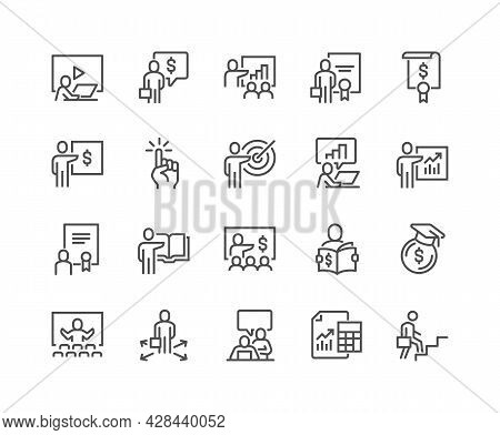 Simple Set Of Business Training Related Vector Line Icons. Contains Such Icons As Presentation, Clas