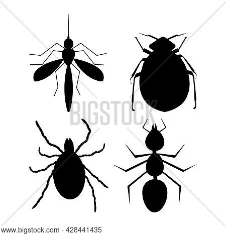 Tick, Ant, Flea And Mosquito Black Silhouette Isolated On White Background. Harmful Insects Set Icon