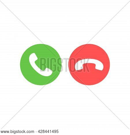 Green And Red Mobile Buttons Set. White Telephone Handset In Circle Shape. Accept And Decline Phone