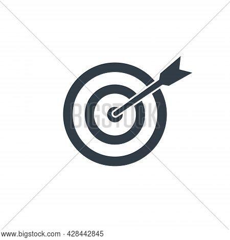Target With Arrow Black Icon. Goal Line Symbol. Successful Shoot. Business Aim Pictogram. Darts Elem