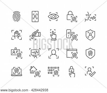 Simple Set Of Biometric Related Vector Line Icons. Contains Such Icons As Voice Recognition, Fingerp