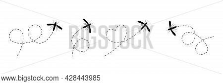 Mosquito Icon Set. Mosquitoes Flying On Dotted Route Collection. Black Insect Silhouettes. Vector Il