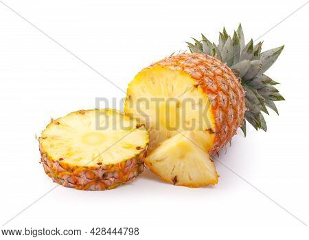 Pineapple Slices With Leaves. Pineapple Isolate. Cut Pineapple On White Background