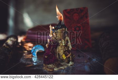 Fortune Telling On A Tarot Cards, Candles And Fortune-telling Objects. The Concept Of Divination, As