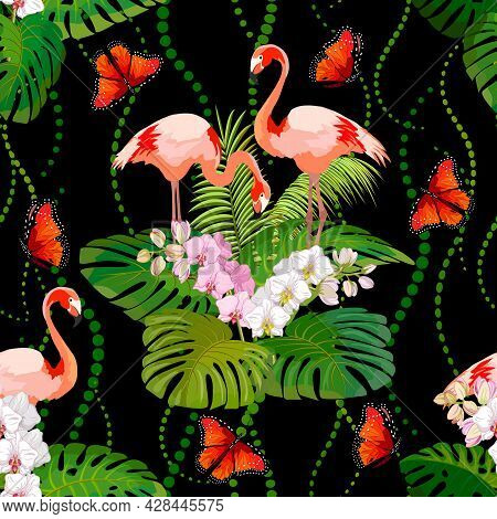 Pattern With Orchids And Flamingos.flamingos, Orchids And Palm Leaves On A Black Background In A Vec