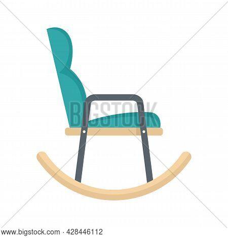 Soft Rocking Chair Icon. Flat Illustration Of Soft Rocking Chair Vector Icon Isolated On White Backg