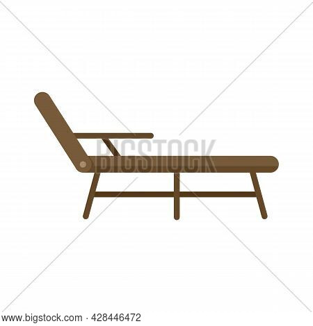 Deck Chair Icon. Flat Illustration Of Deck Chair Vector Icon Isolated On White Background