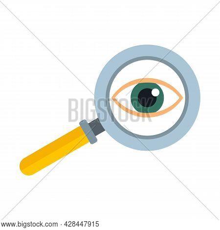Eye Examination Magnifier Icon. Flat Illustration Of Eye Examination Magnifier Vector Icon Isolated
