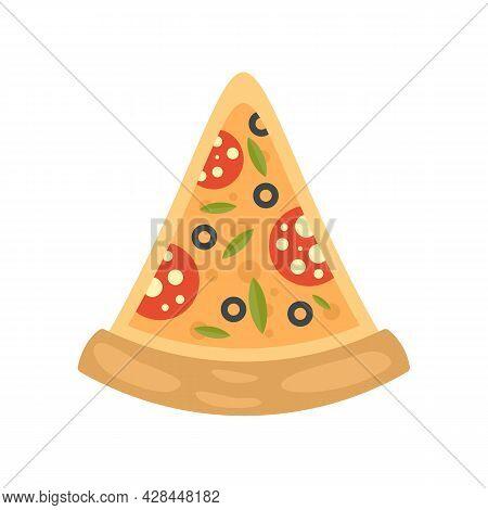 Pepperoni Pizza Slice Icon. Flat Illustration Of Pepperoni Pizza Slice Vector Icon Isolated On White