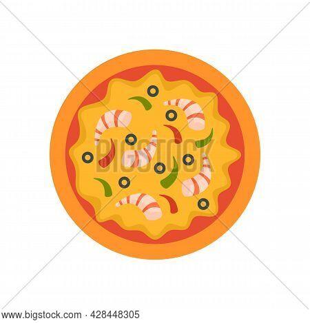 Shrimp Pizza Icon. Flat Illustration Of Shrimp Pizza Vector Icon Isolated On White Background