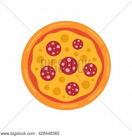 Margarita Pizza Icon. Flat Illustration Of Margarita Pizza Vector Icon Isolated On White Background