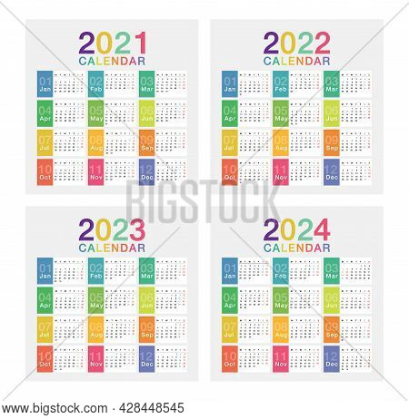Year 2021 And Year 2022 And Year 2023 And Year 2024 Calendar Vector Design Template, Simple And Clea