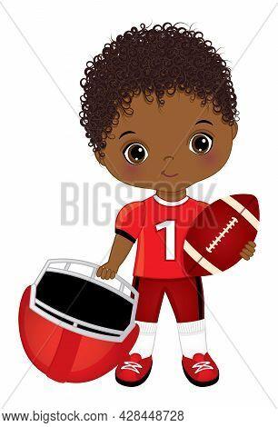 Cute Little Black Boy Playing American Football. African American Boy Wearing Red Outfit. Cute Boy I