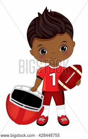 Cute Little Black Boy Playing American Football. African American Boy Wearing Red Outfit. American F