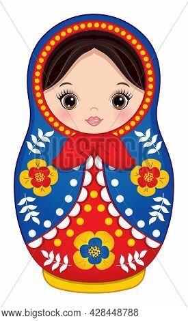 Beautiful Traditional Russian Matryoshka In Blue And Red Colours. Vector Babushka Doll. Matryoshka I