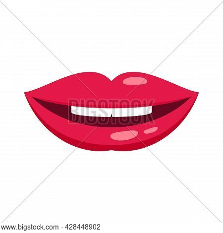 Mouth Kiss Icon. Flat Illustration Of Mouth Kiss Vector Icon Isolated On White Background