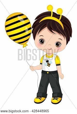 Cute Little Boy Wearing Bee Headband Antenna. Vector Bee. Dark-haired Little Boy Holding Air Balloon
