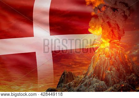 Stratovolcano Blast Eruption At Night With Explosion On Denmark Flag Background, Suffer From Eruptio