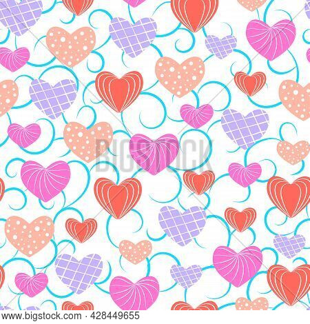 Multicolored Hearts In A Seamless Pattern.seamless Vector Pattern With Multicolored Hearts On A Whit