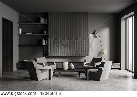 Living Room Interior, Having Corrugated Mockup Place For Banner, Modern Shelves, Concrete Flooring,
