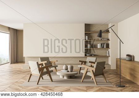 Living Room Interior With Four Armchairs, Accent Floor Lamp, Empty Space Near The Panoramic Window,