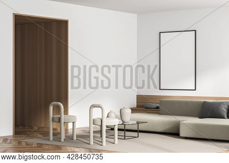 Mockup Banner In The Corner Of White Living Room Interior With Wooden Details And Parquet Floor, Two
