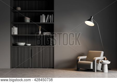 Waiting Room Wall With Niche Bookcase And Concrete Floor. Interior With Accent Thin Black Lamp Above