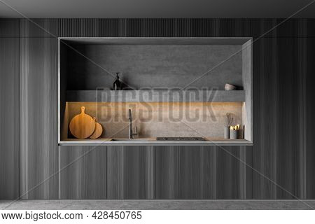 Built-in Kitchen Cabinet Design, Using Dark Wood For Doors And Illuminated Grey Granite Niche With L