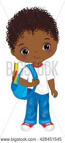 Cute Black School Boy Wearing Jeans, T-shirt And Holding Rucksack. Vector Back To School. Little Boy