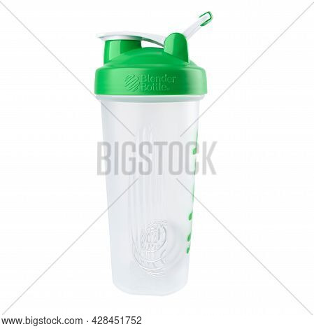Ukraine, Dnipropetrovsk. 05.06.2021 Protein Shaker Iherb. Shake And Blend Bottle For Mixing And Blen