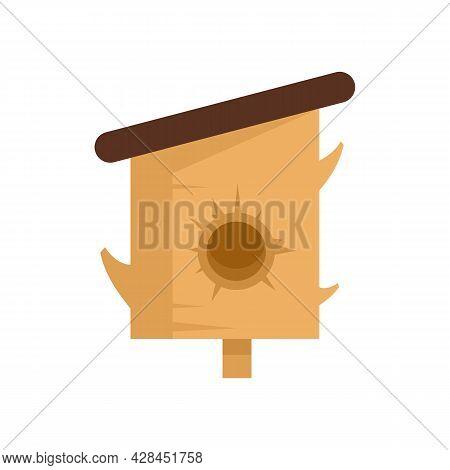Tree Trunk Bird House Icon. Flat Illustration Of Tree Trunk Bird House Vector Icon Isolated On White